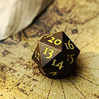 Extra Large Solid Metal D20 Spindown / Countdown Dice Tarnished Brass / Copper Life Counter for MTG Magic The Gathering Commander EDH Extra Heavy