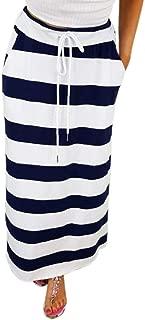 Sinfu Womens Fashion Stripe Hight Waist Waistband Tied Maxi Long Skirt