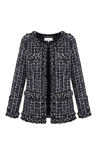 Vosujotis La Mujer Elegante Outcoat Tweed De Manga Larga Slim Abrigos De Lana Frente Abierto Black S