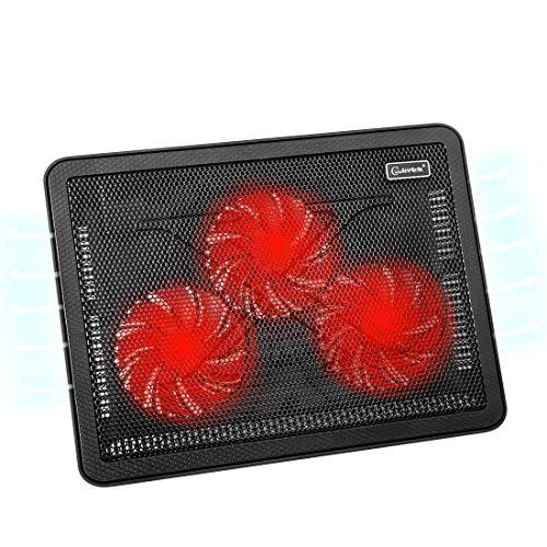 """N\\ A Laptop-Kühler für 15\""""-17\"""" -Zoll, ultradünnes Laptop Kühlpads mit 2 USB-Anschlüssen, 3 roten LED-Silent-Lüftern, Einstellbarer Halterung"""