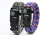 Paracord Bracelet Survival Kit Set of 2 Flint Fire Starter, Compass, Whistle, Scraper/Knife for Camping, Hiking, Fishing, Hunting Outdoor
