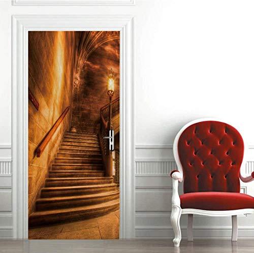 Escalera De Caracol De La Iglesia Pegatinas De Puerta 3D Papel Pintado De Pvc Diy Sala De Estar Pegatinas De Dormitorio Decoración Para El Hogar Impermeable Mural Decal