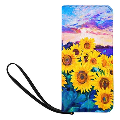 InterestPrint Sunflowers Sunset Oil Painting Womens Wallets Wristlet Strap Handle Clutch Purse with Strap