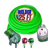 8/3 Welder Extension Cord 25 ft 10,000 Watts Nema 6-50 250-Volt Welder Extension Cord 8 Gauge Lighted end 220 Welder Extension Cord 50 amp Welding Extension Cord 25 ft 6/3 Plug