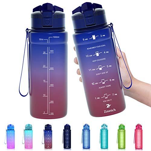 ZOUNICH Trinkflasche Kinder Auslaufsichere 1L/700ml/500ml-BPA frei trinkflaschen Sport tritan Kunststoff Wasserflasche für Fahrrad, Schule, kohlensäure geeignet, spülmaschinenfest Sportflasche