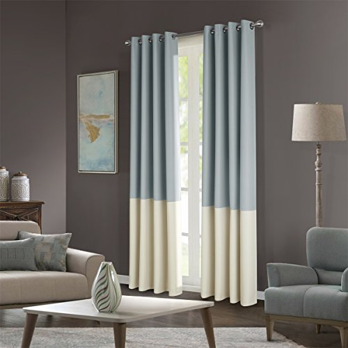 """Dreaming Casa Stitching Style Two Tone Curtains Light Blocking Drapes Color Block Curtains 72"""" Wide Blackout Curtains Window Treatment Grommet Top 2 Panels Light Grey Ivory 72"""" W x 102"""" L"""