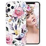 Custodia iPhone 12 Pro Max con design per ragazze,donna,fiore floreale Custodia protettiva in silicone morbido e carino per iPhone 12Pro Max 6.7 2021,rosa/peonia