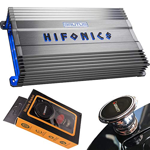 Hifonics BG-2200.1D 2200 Watts Brutus Gamma Mono Subwoofer Car Audio Amplifier with Gravity Magnet Phone Holder Bundle
