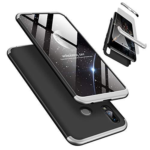 Huawei Honor Play Handyhülle + Bildschirmschutzfolie, LaiXin Huawei Honor Play Hülle 360 Grad PC Plastik Hard Hülle Cover Fall-Abdeckung Schutzhülle mit Panzerglas - Silber/Schwarz