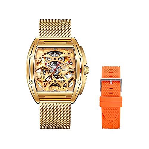 CIGA design Z Series Reloj mecánico automático para Hombres Reloj Dorado con Lente de Zafiro en Forma de Barril Reloj para Hombres de Moda empresarial