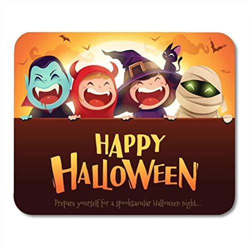Gaming Mouse Pad Happy Halloween Party Gruppe von Kindern in Kostümen Big Decor Office Rutschfeste Gummi Backing Mousepad Mouse Mat