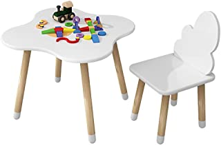 Yqihy Toddler Children Kids White Clouds Wood Table and Chairs Set for Study Activity Indoor Outdoor Use