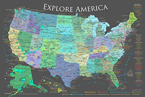 GEOJANGO National Parks Map Poster with 600+ NPS Site and USA Travel Destinations - Slate Edition (30W x 20H inches)