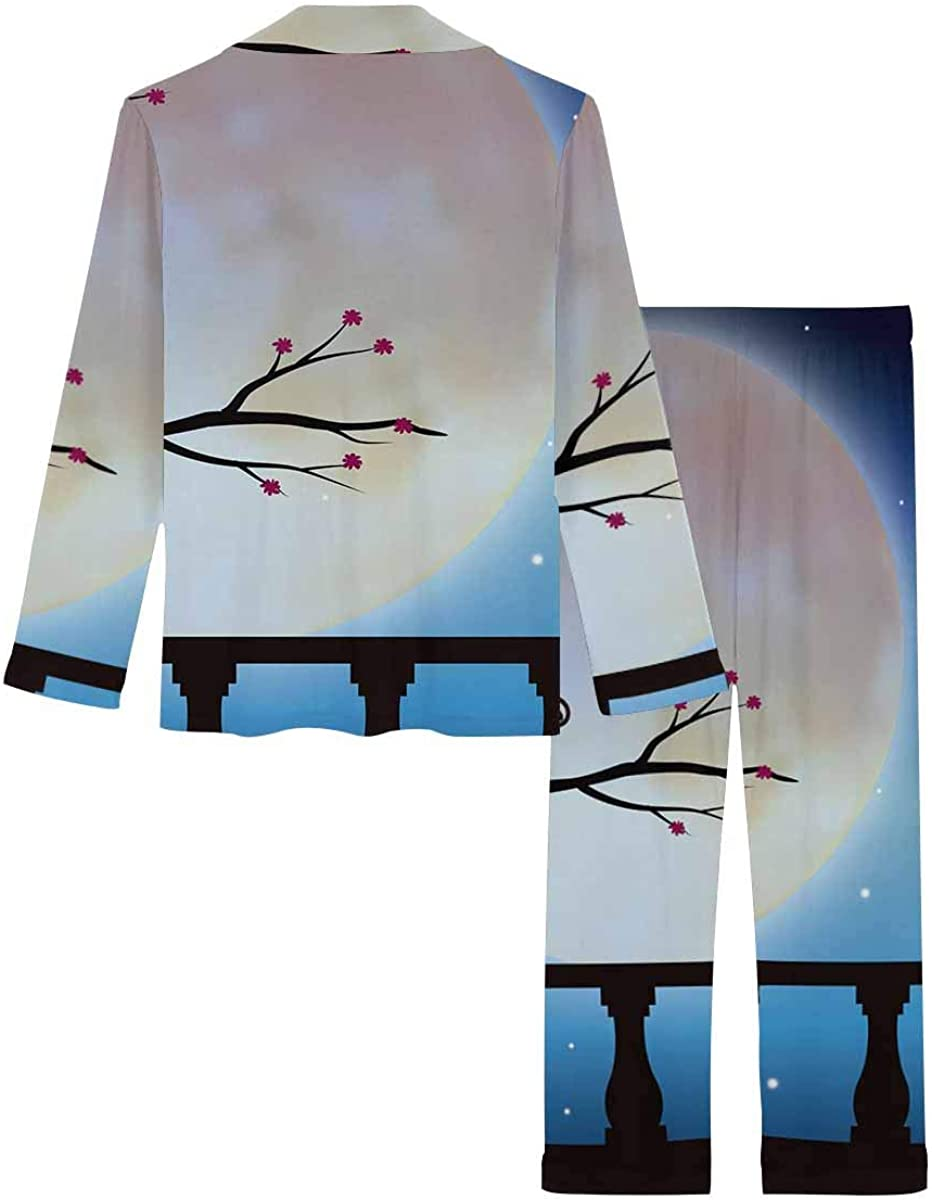 InterestPrint Long Sleeve Button Down Nightwear with Long Pants Cat Couples