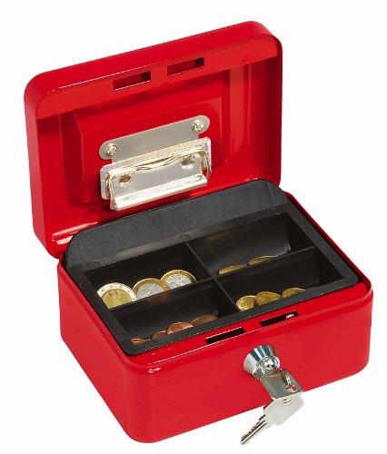 Wedo 145102H Geldkassette (aus pulverbeschichtetem Stahl, versenkbarer Griff, Geldnoten- und Belegeklammer, 4-Fächer-Münzeinsatz, Sicherheits-Zylinderschloss, 15,2 x 11,5 x 8,0 cm) rot