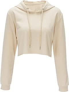 Hoodies for Women Workout Crop Top Hoodie Hooded Pullover Sweatshirt