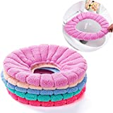 Taylor Gre 5 pcs Bathroom Soft Thicker Warmer Stretchable Washable Cloth Easy Installation & Cleaning Comfortable Toilet Seat Cover Pads (B)