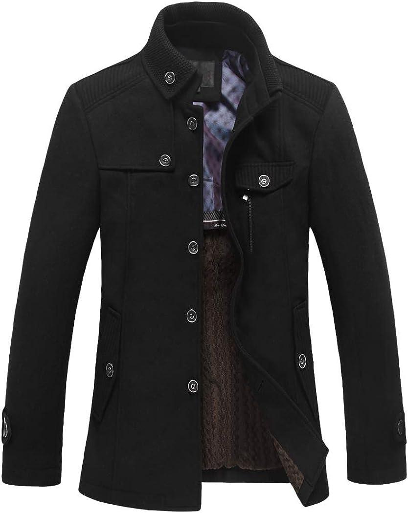 Men's Wool Blend Peacoat Black Winter Coat knitting Stand Collar Fleece Lining Single Breasted