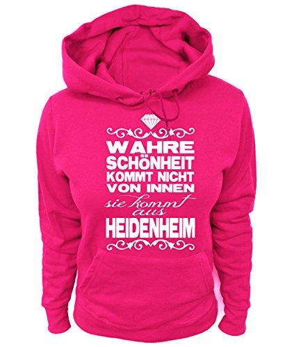 Artdiktat Damen Hoodie - Wahre Schönheit kommt Nicht von Innen - Sie kommt aus Heidenheim Größe L, Fuchsia