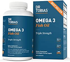 Dr. Tobias Omega-3 Fish Oil, Triple Strength, Supports Brain & Heart Health, 2000 mg per Serving, 180 Soft Gels (2 Daily)