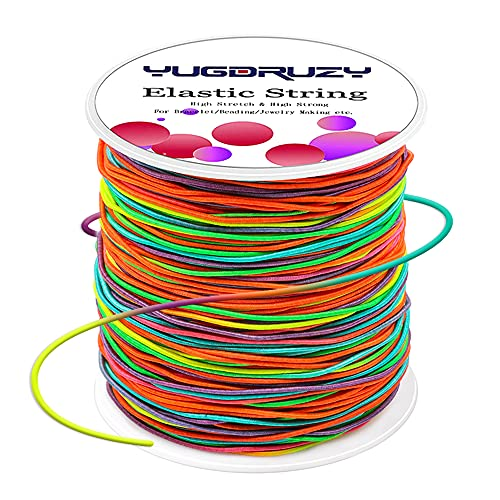 YUGDRUZY 109 Yards Elastic Cord with Sewing Scissors, 328ft Craft Wire Elastic Stretch String Polyester Nylon Rope Handmade Band for DIY Jewelry Bracelet Necklace Beading Making (Colorful, 1mm)