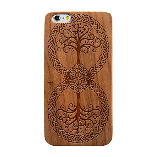 Laser Engraved Wood Case for Apple iPhone Samsung Galaxy Spiritual Floral Celtic Infinity Tree of Life for iPhone 7 Plus Cherry Case