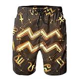 Bañador para hombre Aquarius dorado signo del zodiaco traje de baño pantalones cortos de secado rápido atlético con forro de malla y bolsillos, blanco, XXL