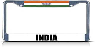Promini India National License Plate Frame, Nation Flag License Plate Frame, 6x12 Inch Aluminum Metal Auto License Plate Frame Car Tag Holder
