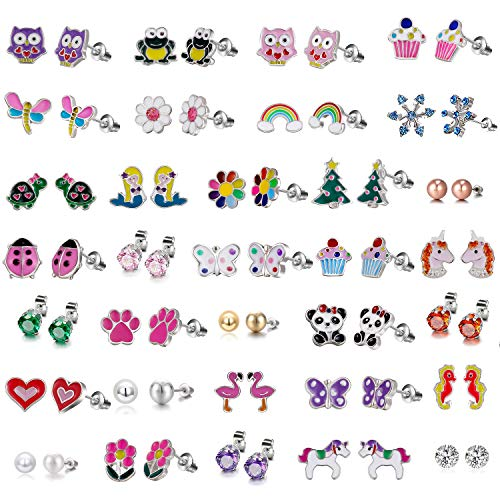 33 PairsStud Earrings Set for Girls - Hypoallergenic Earrings Set for Kids - Colorful CZ Stud Earrings for Little Girls - Animal Earrings for teen Girls Jewelry