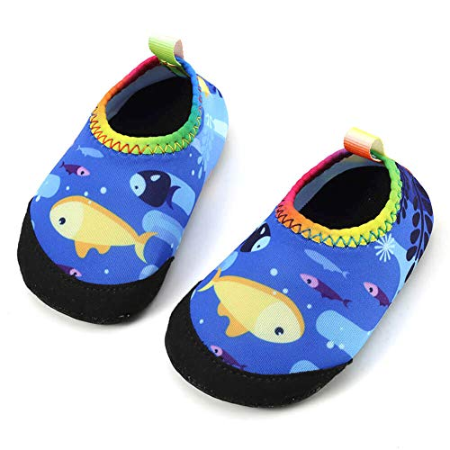 Panda Software Baby Boys Girls Water Shoes Infant Barefoot Quick -Dry Anti- Slip Aqua Sock for Beach Swim Pool Fish/6-12 Months M US Infant