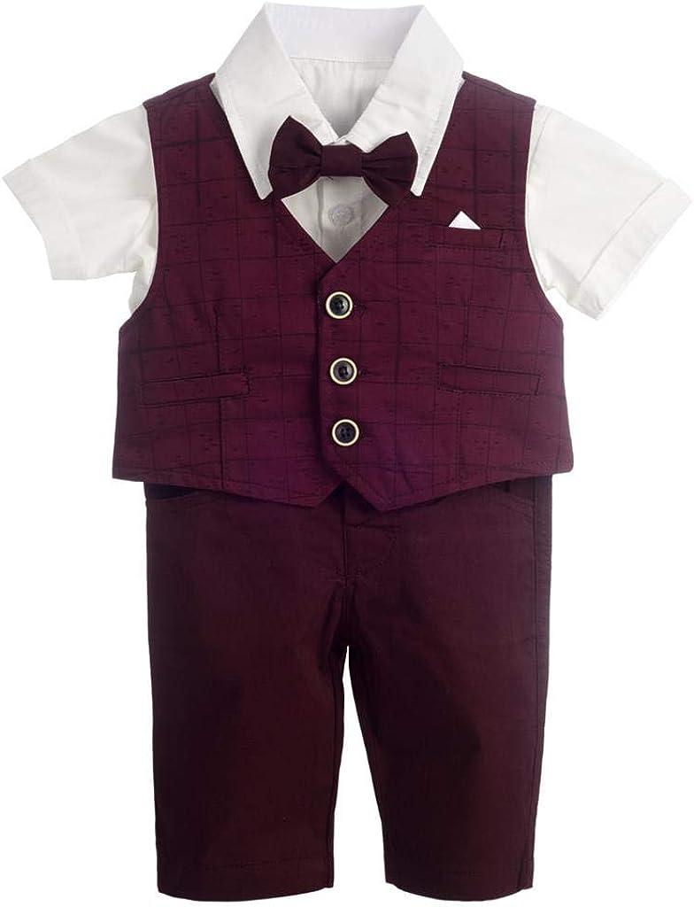Dressy Daisy Baby Boy Suit Gentleman Wedding Outfit 4 Piece Formal Dress Wear Plaid Short Sleeve