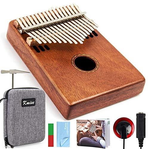 Kalimba, Daumenklavier 17 Schlüssel Kalimba Finger Daumenklavier Mahagoni Marib Musikinstrument mit gepolsterter Tasche Tuner Hammer-Weihnachtsgeschenk
