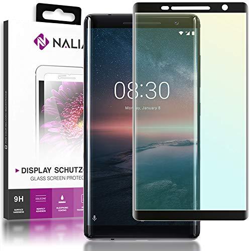 NALIA Schutzglas kompatibel mit Nokia 8 Sirocco, 9H Full-Cover Bildschirm Schutz Glas-Folie, Dünne Handy Schutzfolie Display-Abdeckung, Schutz-Film Clear HD Screen Protector - Transparent (schwarz)