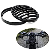 5 3/4' Black Aluminum Headlight Grill Cover For Harley-Davidson Dyna Super Glide Custom FXDC Low Rider Street Bob FXDB Super Glide Wide Glide XL1200 883