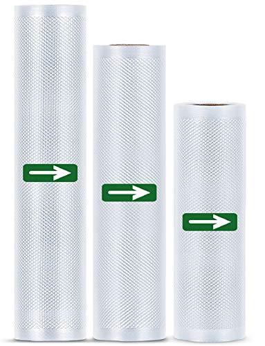 LAKIDAY Vakuumrollen Vakuumierbeutel Folienrollen BPA-Frei für alle Vakuumierer, Stark & Reißfest Wiederverwendbar Vakuumbeutel (3 Rollen 20 x 300cm und 25 x 300cm und 28 x 300cm)