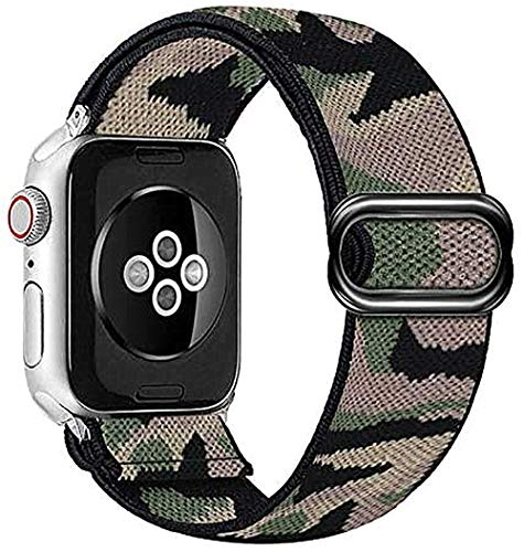 Wrist-B IWINTP Stretchy Loop Band Compatible with for Apple Watch Bands 38mm 40mm 42mm 44mm, Soft Adjustable Elastic Strap Compatible for iWatch Series 6 5 4 3 2 1 SE, 02-Camouflage
