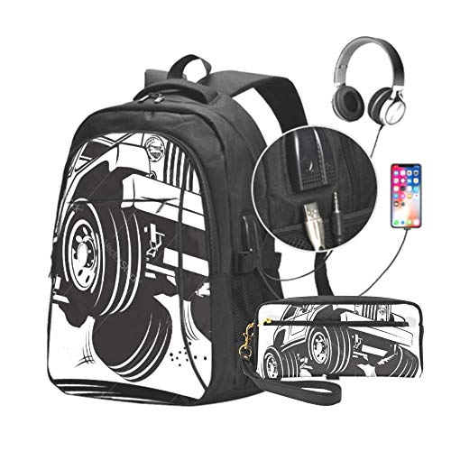 Cartoon Jeep Unisex Durable Business Travel, Backpack Casual Laptop Backpack, with USB Charging Port Pencil Pen Case Office College School Large Storage High Pouch