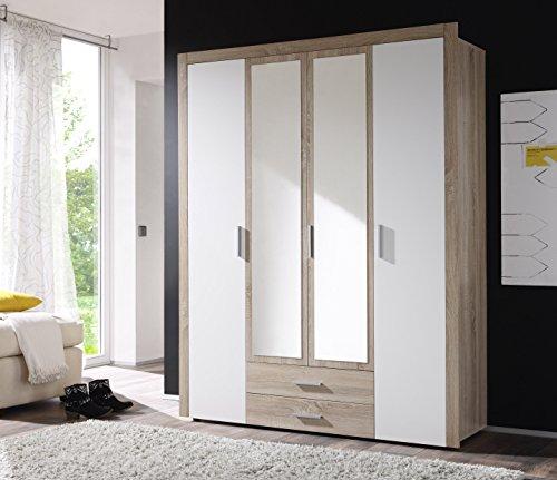 AVANTI TRENDSTORE - Axel - Armadio con ante a battente in legno truciolato di colore quercia Sonoma e bianco. Ante centrali specchiate e cassetti sottostanti. Dimesioni: 156x195x53cm