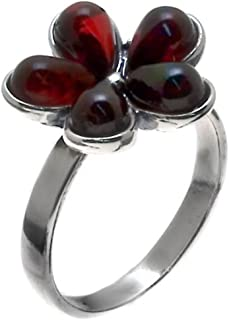 Ian and Valeri Co. Cherry Amber Sterling Silver Flower Ring