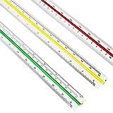 ZHANGTING Righello di scala triangolare in plastica per architetti, 30 cm, codifica scala per colori (grande)