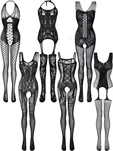 6 Pièces Bas en Dentelle Femme Bas de Lingerie en Maille Bodysuits Résille Creux Lingerie de Nuit Floral pour Faveurs (Noir, XL - XXL)