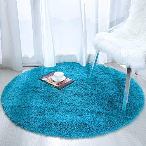 Softlife Fluffy Area Rugs for Bedroom 4' x 4' Round Shaggy Rug for Girls Kids Living Room Nursery Home Decor Floor Carpet, Turquoise Blue