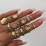 Edary Juego de anillos de cruz vintage para nudillos con piedras preciosas, anillo de oro para nudillos de buena suerte para mujeres y niñas (15 piezas)