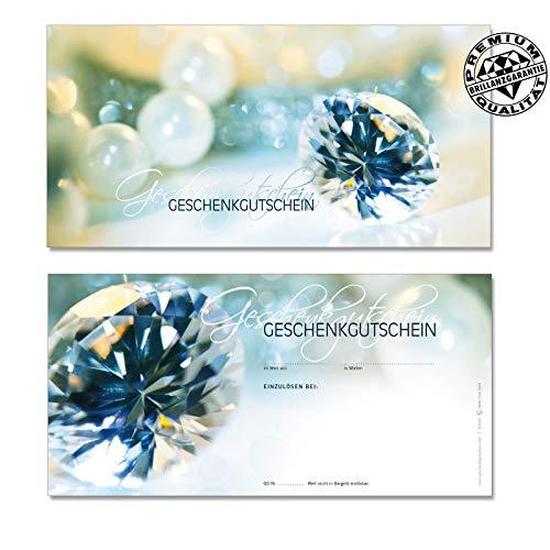 10 Gutscheinkarten Geschenkgutscheine DIN-lang. Gutscheine für Schmuckhandel Juweliere. Vorderseite hochglänzend. SC9261 geschenkgutschein gmbh