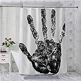 Aishare Store - Juego de cortinas de ducha con dedos humanos en pantalla táctil con sello de identidad estilizado de Grunge Motley, 70 pulgadas de largo impermeable decoración del hogar, color negro
