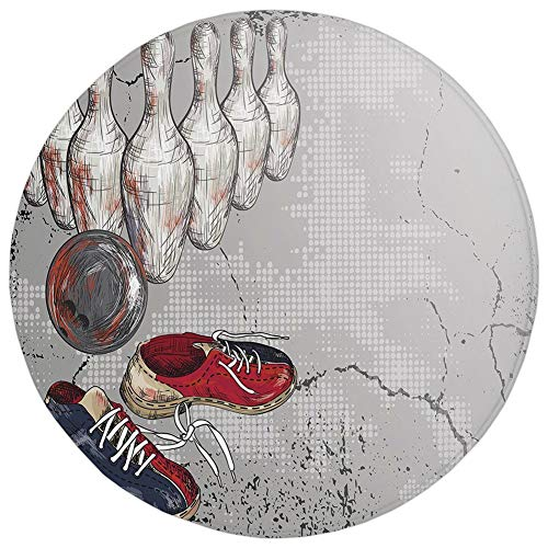 Round Rug Mat Carpet,Bowling Party Decorations,Bowling Shoes Pins and Ball Artistic Grunge Style Decorative,Light Grey Red Dark Blue,Flannel Microfiber Non-slip Soft Absorbent,for Kitchen Floor Bathro