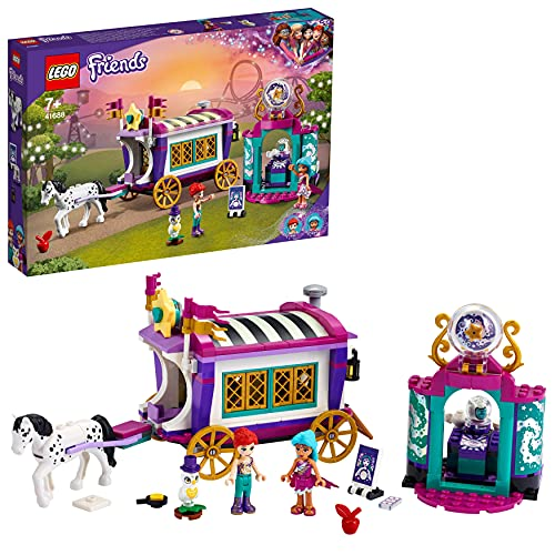 LEGO 41688 Friends Magical Caravan Horse Set, Fairground Amusement Park with 2 Mini Dolls, Vehicle Toy for Kids 7 Years Old