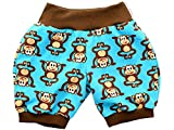 Kleine Könige Kurze Pumphose Baby Jungen Shorts · Modell AFFE Äffchen türkis, braun · Ökotex 100 Zertifiziert · Größe 98/104