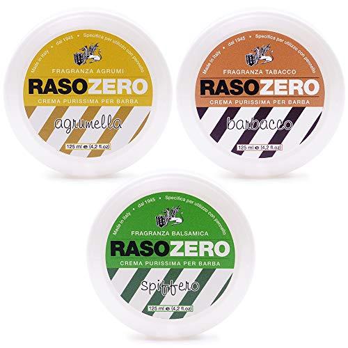 3 savons de rasage Rasozero. Agrumella, Spiffo, Barbacco. Set complet