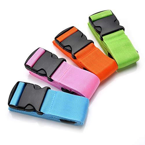Yizhet Correas para Equipaje, Cinturones de la Maleta Ajustables de Equipaje de Viaje Cinturones,4-Pack, 4-Color(Verde,Azul, Rosa, Naranja)